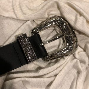 B-Low The Belt Small black and silver western belt